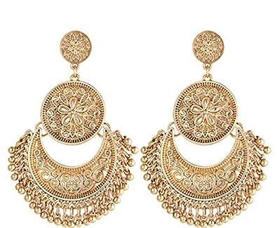 Tassel Hoop Earrings Bohemia Fan Shape Drop Earrings Fish Hook Earrings Dangle Ear Drop for Women Girls Daily Wear,Party