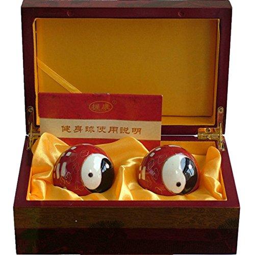 Chinois Traditionnel Baoding Boule De Fer Rouge Tai Chi Ballon De Fitness Décompression Handball Boîte-cadeau 50mm350g