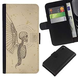 EJOY---La carpeta del tirón la caja de cuero de alta calidad de la PU Caso protector / Sony Xperia Z3 D6603 / --Muerte Alas cráneo esqueleto infierno Ángel