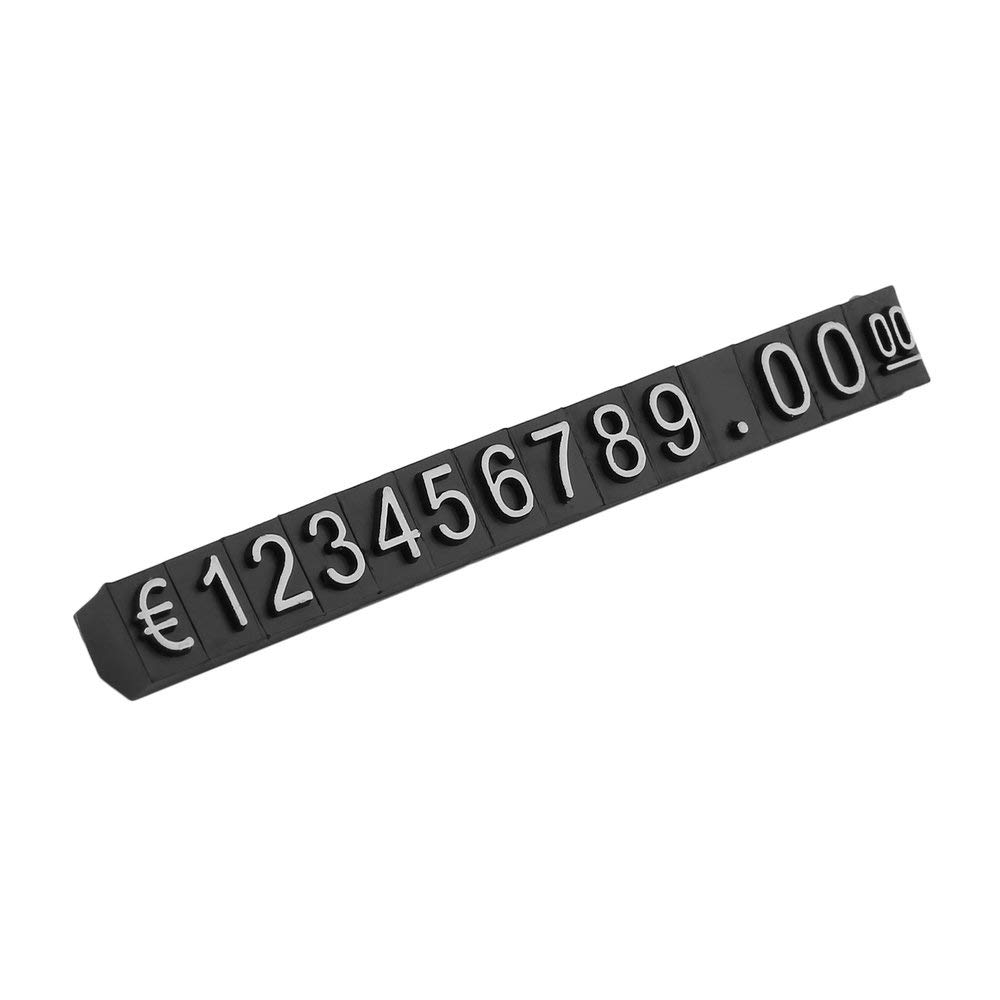 Black/&White 420PCS All in/€ Sign Price Cube Kit Shop Store Countertop Sale Price Display Black Cube White Letter Digital Price Tags