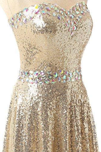 Ysmo Bling lentejuelas vestidos del baile de la mujer largo de noche para Party dorado dorado 46