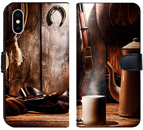 Liili Premium iPhone X Flip Micro Fabric Wallet Case Image ID: 18583716 American West Legend Cup of hot Steamy Coffee and Brewing Pot on an Old Wood Table with