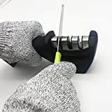 grinder 3 stage - Manual Knife Sharpener, 3 Stage Professional Knife Sharpening System to Repair, Detachable Grinder Head, Restore and Polish Blades ,Including A Gift-- a Pair Cut Resistant Gloves