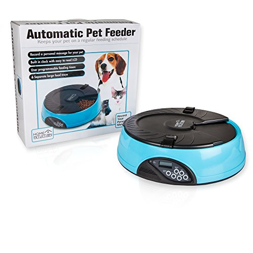 Home Intuition 6 Meal Automatic Pet Feeder for Cats, Dogs, House Pets, and Farm Animals (Light Blue)