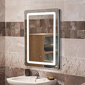POPSPARK Miroir Salle De Bain Avec éclairage LED 9W Lampe De Miroir 50x70cm  Miroir Lumineux Solide