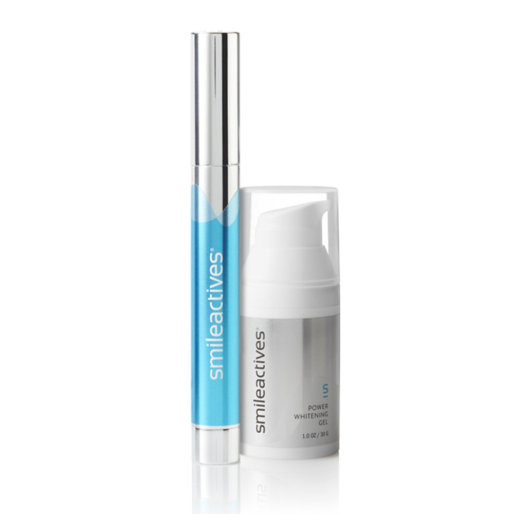 Smileactives – On-the-Go Ultimate Whitening & Brightening Duo – 30 ml Power Whitening Gel and 3.25 ml Advanced Whitening Pen – Travel Size/30 Day Supply by SmileActives (Image #1)