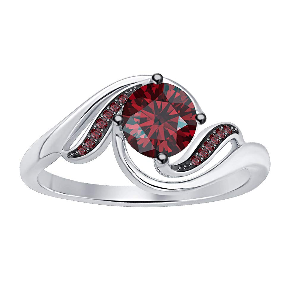 RUDRAFASHION 14k White Gold Plated Round Cut Red Garnet 925 Sterling Silver Mens Anniversary Band Ring