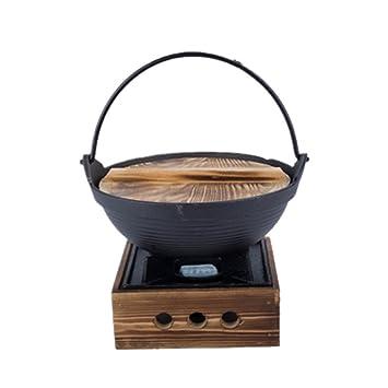 XICHENGSHIDAI - Juego de ollas de Hierro Fundido para sukiyaki japonés con Estufa, Hierro Fundido, Large: Amazon.es: Hogar