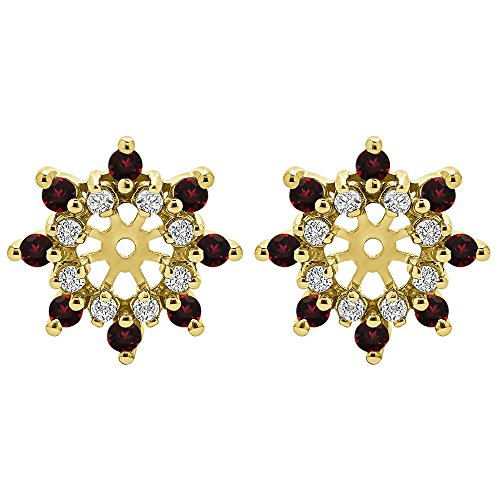0.96 ct. Diamonds (G-H,I2-I3) and Ruby Genuine Ruby and Diamond Cluster Style Earring Jacket in Yellow Plated Sterling Silver (0.96 ct. twt.) by TwoBirch