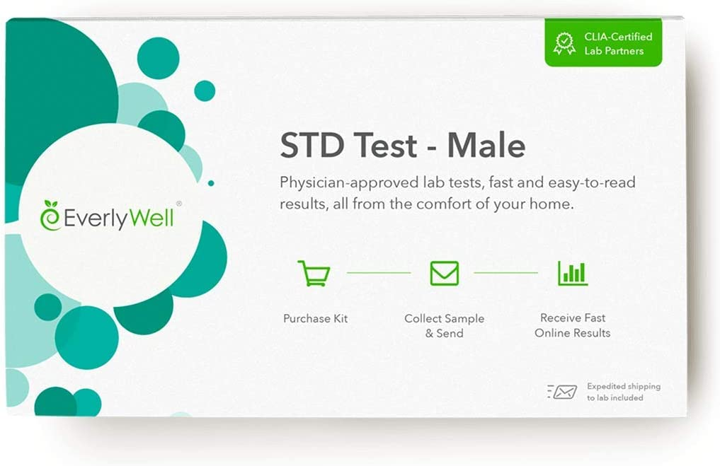 Everlywell Male STD Test - at Home - CLIA-Certified Adult Test - Discreet, Accurate Blood and Urine Analysis for 7 Common STDs - Results Within Days - Not Available in RI, NJ, NY
