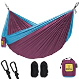 Hammock for Camping Single & Double Hammocks - Top Rated Best Quality Gear For The Outdoors Backpacking Survival or Travel - Portable Lightweight Parachute Nylon SO Fuchsia Sky Blue