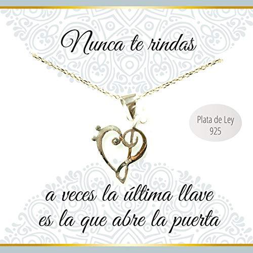 Collar Con Mensaje Corazón Clave De Sol Y Fa Plata De Ley 925