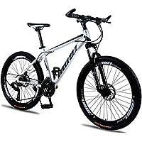 Mountain Bike - Bicicleta de montaña para hombre y mujer, 26 pulgadas, rueda de radios rojos, aleación de carbono, 2 x suspensión delantera de freno de disco