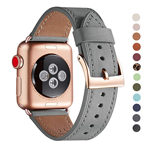 WFEAGL Compatible iWatch Band 38mm 40mm, Top Grain Leather Band with Gold Adapter (The Same as Series 4/3 with Gold Aluminum Case in Color) for iWatch Series 4/3/2/1 (Gray Band+Rose Gold Adapter)