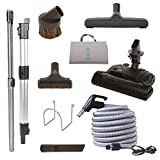 Central Vacuum Carpet Attachment Kit with Adjustable Height Electric Carpet Head - Brush Set Including 30ft Central Vac Dual Votage Switch Control Hose