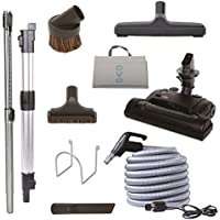 Nadair Central Vacuum Carpet Attachment Kit With Adjustable Height Electric Carpet Head - Brush Set Including 35ft Central Vac Dual Votage Switch Control Hose