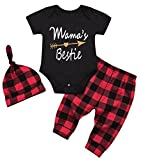 Newborn Baby Girls Mama's Bestie Letters Arrows Print Romper+Plaid Pants+Cap 3Pcs Outfits Size 6-12Months/Tag90 (Black)