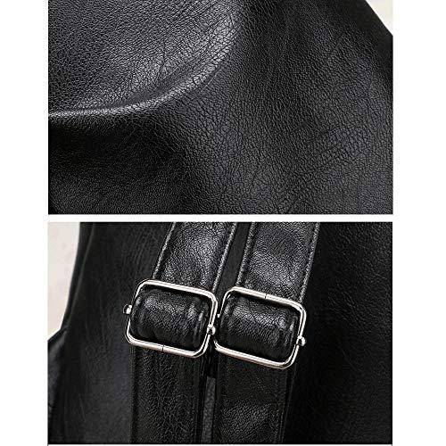 Viaje Para Moda Mochila Mujer Bolso De Impermeable Cuero Negro Coreano Casual Mlpus Estilo 64Exwq