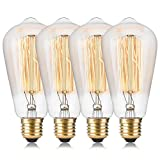 Wedna Vintage Edison Bulb ST64 60W Classic Squirrel Cage Filament Light Antique Style E26 Screw Base ST64 120V - 4 Pack
