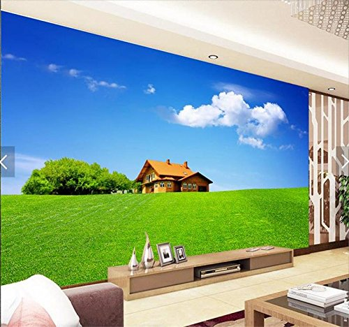 Whian 3D Wallpaper Mural Living Room Bedroom Grass Hut Cloud Tv Background Picture Wall Sticker 240Cmx180Cm|94.48(in) X70.86(in)