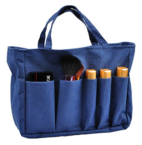 Printed Purse Insert Organizer,13 Pockets in Handbag Liner Bag In Bag with Zipper and Handles, Cotton Blue