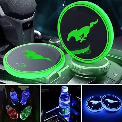 2pcs LED Car Cup Holder Lights, 7 Colors Changing USB Charging Mat Luminescent Cup Pad, LED Interior Atmosphere Lamp for (Mustang-2) (Mustang Led Lights Interior)