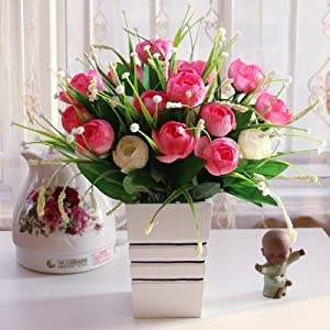 SituMi Artificial Fake Flowers Rooms Are Decorationated InKitIndoorTable OrnamentsPink Camellia 117