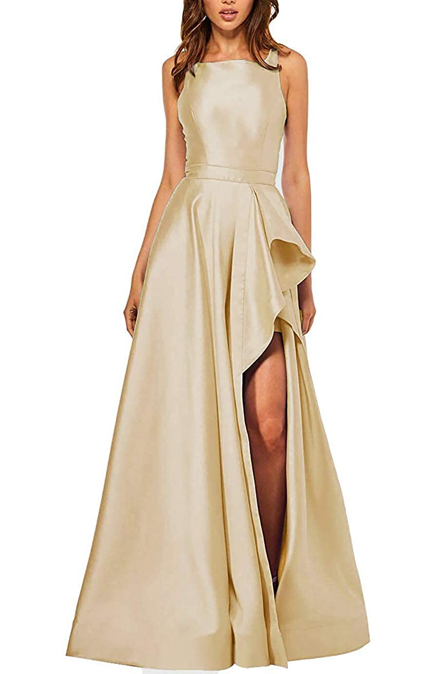 Champagne PrettyTatum Women's Backless Long Prom Dresses Formal Evening Ball Gowns with Split Pockets