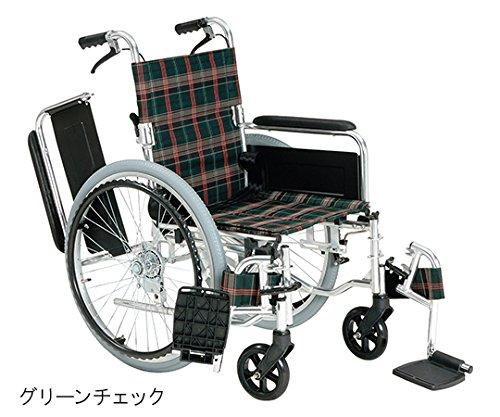 マキテック7-2276-01車いす(自走式アルミ製背折れタイプ)エアータイヤグリーンチェック B07BD33HCY
