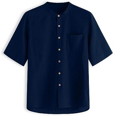 Hombre Camisas de Algodón y Lino de Manga Corta Básico Camisetas Retro Color sólido Casual Camisa de Botones Bolsillo Cuello Mao Suelta Transpirable Tallas Grandes Blusa de Trabajo Tops Gusspower: Amazon.es: Ropa