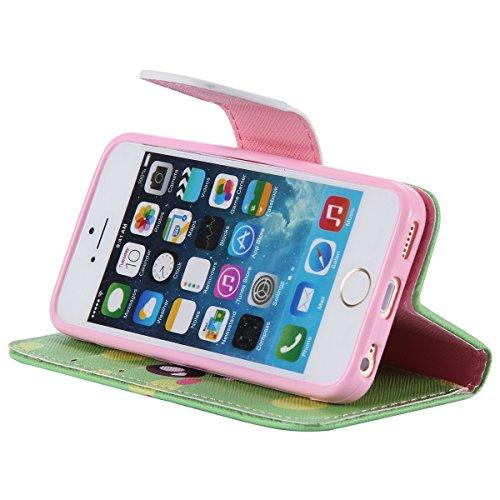 iPhone 5 / 5S Coque , Apple iPhone 5 / 5S Coque Lifetrut® [ Vert Pois sourire ] Luxe Premium Portefeuille Flip mignon Coque TPU souple Folio en cuir PU intégré dans la carte Slots Coque Etui pour Appl