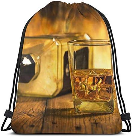 ウイスキーと空のBottlの軽量ドローストリングバッグスポーツジムサックバッグバックパック36 x 43cm