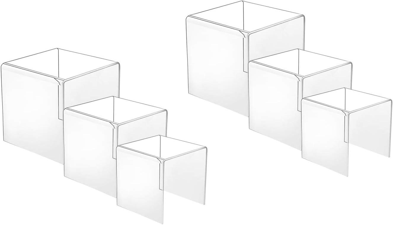 HESIN 2 Sets Clear Acrylic Display Risers 3inch,4inch,5inch Shop Retail Bridge Rack (2 Set)