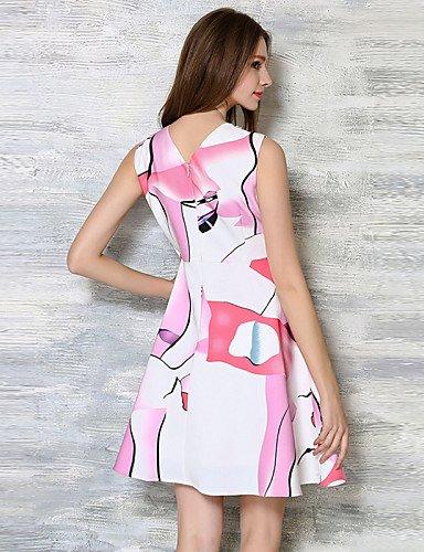 PU&PU Robe Aux femmes Trapèze Simple,Imprimé Col Arrondi Au dessus du genou Lin , white-xl , white-xl