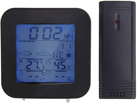 RTYUU Temperature Hygrometer Wireless Indoor and Outdoor Color Clock Wireless Barometer with Clock Function