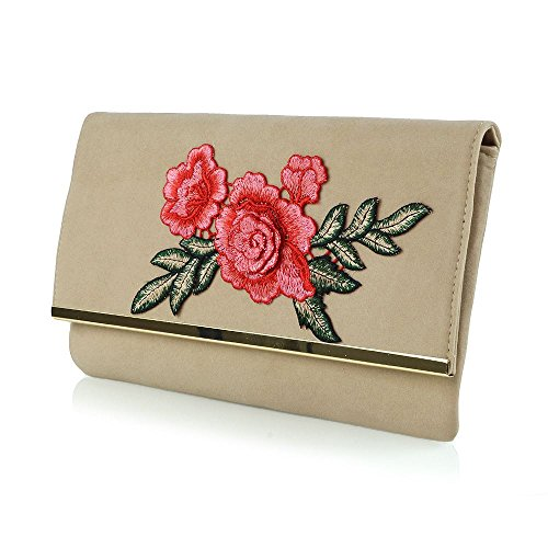 Essex Glam Womens Embroidered Floral Beige Faux Suede Evening Party Clutch Bag