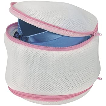 Household Essentials 124 Laundry Bra Wash Bag   2 Sided Protection for Lingerie   White with Pink Trim