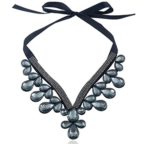 Price comparison product image TOPUNDER Women Flower Choker Bib Adjustable Necklace Gray by