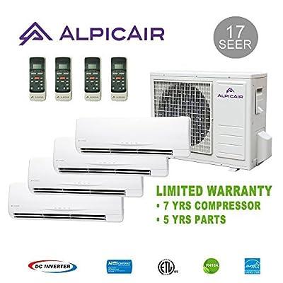 AlpicAir +Multi Quad-Zone Ductless Mini-Split System 36,000 BTU Inverter Heat Pump (9k+9k+9k+18k)