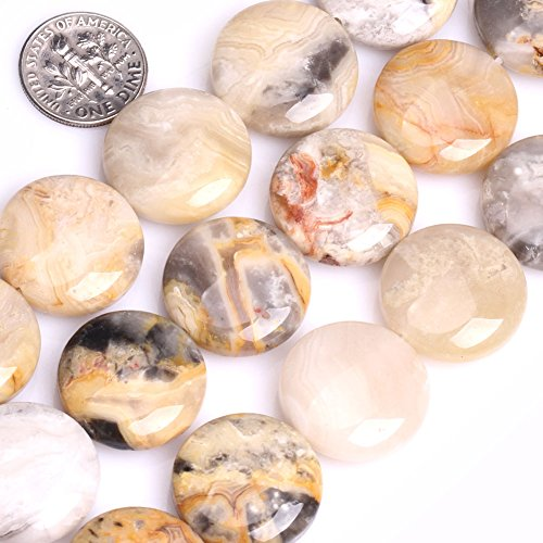 GEM-inside Lace Agate Gemstone Loose Beads Natural 20mm Coin Crzay Crystal Energy Stone Power For Jewelry Making - Coin 20 Mm Beads
