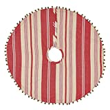 VHC Brands Christmas Holiday Decor-Vintage Stripe Red Mini Tree Skirt, Stone