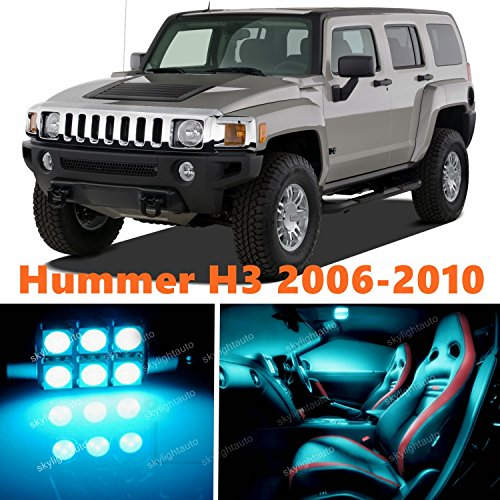 13pcs LED Premium ICE Blue Light Interior Package Deal for Hummer H3 2006-2010