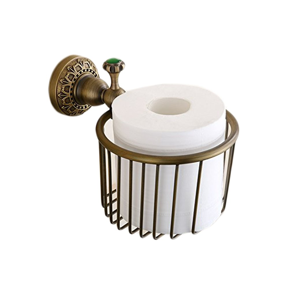 Beelee Vintage Antique Brass Finish Wall Mount Roll Toilet Paper Wire Basket Toilet Tissue Caddy Storage Bathroom Shower Cosmetic Holder Soap Basket