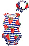 Funnycokid Baby Girl Sleeveless Strawberry Printed Pom Pom Tassel Romper Jumpsuit + Headband
