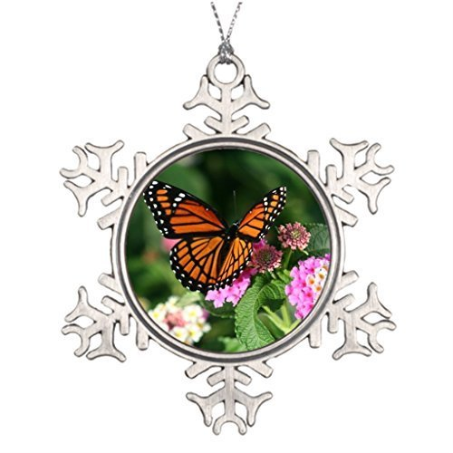 (Metal Ornaments Monarch Butterfly on Lantana Flower Personalised Christmas Tree Decoration Small Christmas Tree Decorating)