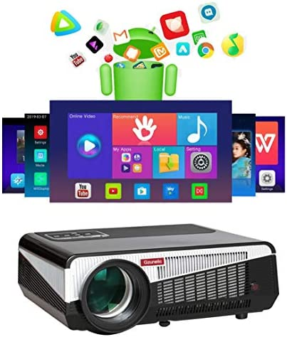 Gzunelic 7500 lumens Android WiFi 1080p Video Projector LCD LED Full HD Theater Proyector with Bluetooth Wireless Synchronize to Smart Phone by Airplay or Miracast Ideal for Home Entertainment