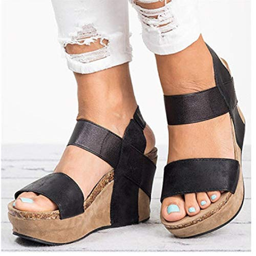 (Women's Wedge Sandal Open Toe Stretch Strappy Chunky Cork Comfortable Sole Platform Wedge Sandals Black )