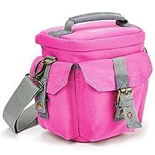 Evecase Small Compact DSLR/SLR Camera Canvas Holster Case/Bag - Pink for Nikon D500, D5500, D5300, D3300, D7200, D7100, D610 and more