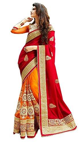 Vatsla Enterprise Women's Georgette Saree (ORNGKLDP_Orange and RedFree Size)