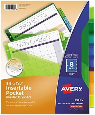 Avery 11903 Insertable Big Tab Plastic Dividers w/Single Pockets, 8-Tab, 11 1/8 x 9 1/4
